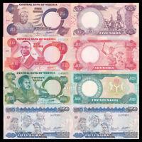 Nigeria Set 4 Pcs  5 10 20 50 Naira, P-24 25 26 27, UNC