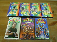 Lot of 7 Vintage VHS Cassette Video Tapes Power Rangers & Captain Planet