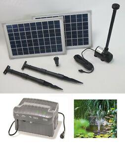 20 W Solarpumpe Teich Solar Pumpe Akku Batterie Gartenteich Bachlauf 1500L/h NEU