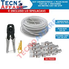 Kit Pinza Crimpatrice + Cavo Di Rete Lan 50 Metri + Connettore Plug Vultech
