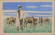 Handmade & Handpainted (watercolor) Postcard-Man with Cattle