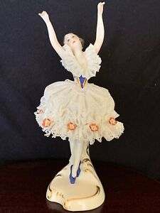 "6""Mint,Dresden,Lace,Collectible,Volkstedt,German,dancer,Sitzendorf,dancer,ballet"
