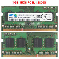 For Samsung 4GB 1RX8 PC3L-12800S DDR3L-1600Mhz 1.35V SODIMM Laptop Memory RAM