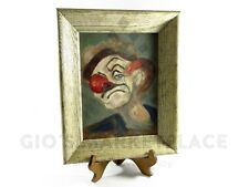 "Frowning Sad Clown Original Vintage Canvas Oil Painting Unknown Artist 16""X13"""