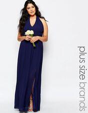 TFNC Plus WEDDING Halter Neck Chiffon Maxi Dress UK20/EU48/US16  zz3