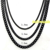3/5/7mm MENS Boy Chain Black Tone Curb Link Stainless Steel Necklaces 18-36''