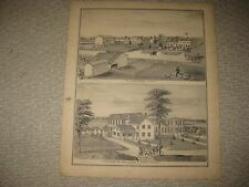 ANTIQUE 1874 PITTSFIELD TOWNSHIP WASHTENAW COUNTY MICHIGAN PRINT INSANE ASYLUM