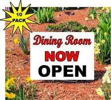 """10 pack Restaurant Dining Room Now Open - Yard Doorway Sign 18""""x24"""" double sided"""