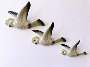 CERAMIC FLYING WALL HANGING DUCKS /  SULPHUR CRESTED COCKATOO.  AUSTRALIANA