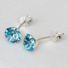 Stud Earrings 6mm Turquoise Crystal Rhinestone Set In 925 Solid Sterling Silver