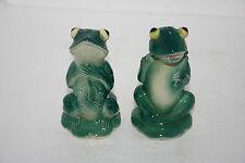 Vtg Japan Art Pottery Fairyland China Googly Bug Eyes Frog Salt & Pepper Shakers