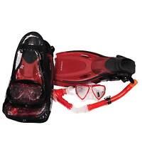 Red Fin Flipper & Snorkel Set Scuba Diving child, small adult size 1-4  EU 33/37