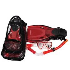 Red Fin Flipper & Snorkel Set Scuba Diving child, small adult size 1-4  EU 33/37