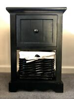 Brand New Black Bedside Cabinet Gloss Finish Wicker Basket Ready Assembled Night