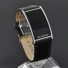 LED Digital Date Watch Leather Strap Stainless Steel Casual Wristwatch Lady Men