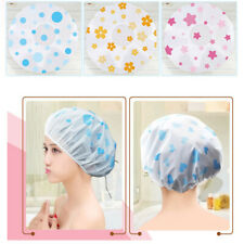 FP- JW_ Cartoon Heart Lip Flower Print Waterproof Elastic Bathing Hat Shower Cap
