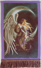 "24""x16"" FRINGED SILK NEEDLEPOINT WOVEN FANTASY PAINTING TAPESTRY: NIGHT ANGEL ="