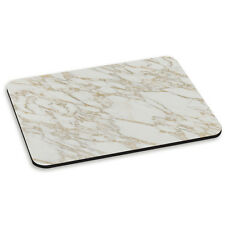 White and Gold Marble Effect Pattern Stone PC Computer Mouse Mat Pad