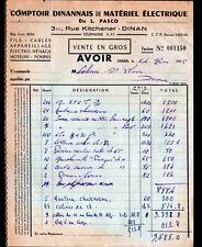 """DINAN (22) COMPTOIR DINANNAIS de MATERIEL ELECTRIQUE / CABLES """"L. PASCO"""" en 1955"""