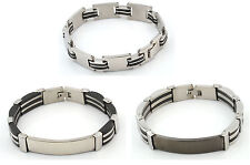 Men's Stainless Steel and Carbon Fiber Bracelet Buckle Clasp Wristband
