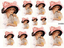 VinTaGe IMaGe FiSHeR LaDY WiTH PinK BoW ShaBby WaTerSLiDe DeCALs
