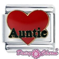 RED AUNTIE HEART - Daisy Charm by JSC Fits Classic Size Italian Charms Bracelet