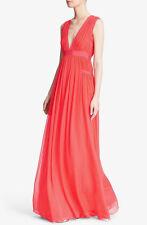 $798 DIANE VON FURSTENBERG DVF Lelani Coral Silk Maxi Dress - Sz 6 (M)