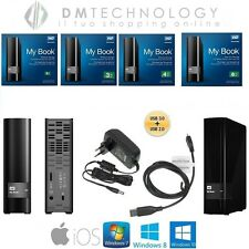"HARD DISK ESTERNO NERO WESTERN DIGITAL MY BOOK 3,5"" 2 TB-3TB-4TB + CAVO USB 3.0"