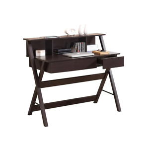 New 44 in. Rectangular Wenge 3 Drawer Writing, Design Desk with Built-In Storage