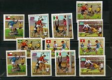 MANAMA 1970 SOCCER WORLD CUP MEXICO 2 SETS OF 6 STAMPS O/P PERF. & IMPERF. MNH
