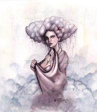 ORIGINAL watercolor painting woman pop surreal cloud rain hair gothic dark art