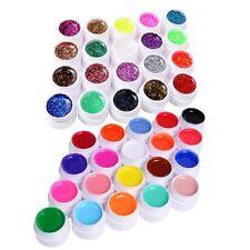 20 Solid +20 Glitter polvere Colorato Gel UV Nail Art Ricostruzione Unghie Tips
