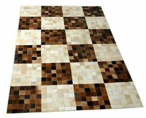 """100% Real Handmade Natural Cowhide Leather Carpet stitched  48"""" X 72""""  Carpet-3"""