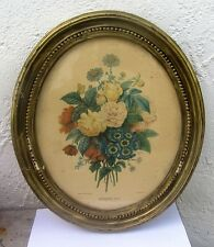 "Vintage Framed Botanical Print P.J. Redoute "" Bouquet No 4 "" Oval 14 X 12"