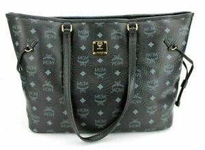 MCM Shopper Tasche Handtasche schwarz goldfarben Logoprint Damen