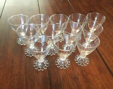 "12 Vintage Clear Glasses Boopie Candlewick 3 7/8"" Juice Cordial Footed Goblets"
