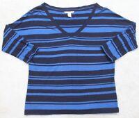 Banana Republic T-Shirt 3/4 Sleeve Women's Small Tee V-Neck Striped Blue & Navy