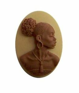 African American Black Woman Resin 25x18 Cameo Brown and Ivory 610x
