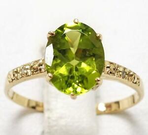 SYJEWELLERY SPLENDID 9CT YELLOW GOLD OVAL PERIDOT & DIAMOND RING SIZE N R1046