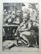 Gravure sur bois - Joueur de cornemuse et son chien à la taverne - 19e siècle