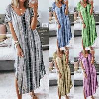 Women Plus Size V-Neck Tie dyeing Split Short Sleeve Casual Slim Long Maxi Dress