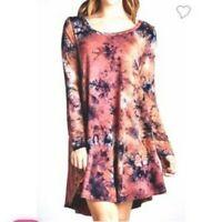 Jodifl pink tye dye high low raw hem long sleeve dress sz M/L