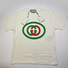 GUCCI Men's Short Sleeve Oversize T-shirt with Interlocking G Shirt Off-White