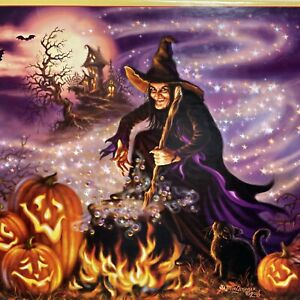 """Halloween Jigsaw Puzzle 500 Pieces All Hallows Eve Witch Fire JOL Cat 18"""" x 24"""""""