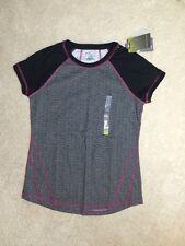 Tek Gear Women's Black/Gray Striped Pink Trim Crew Shirt - Size Small - NEW