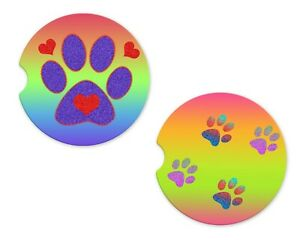 Dog-paw Rubber Car Coasters For Drinks Absorbent Car Cup Holder   SET OF 2