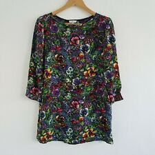 Joie 100% Silk Vintage Floral Longsleeve  Boat Neck Tunic Top Dress Womens Small