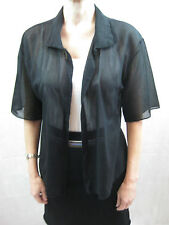 Carl Size 10 Sheer Black Open Front Shirt