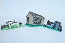 Shelia's Amish Country 3-Piece Set: Horse & Carriage, Cows & Amish Barn Raising