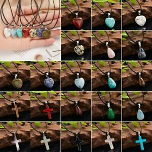 Charm Natural Stone Tiger Eye Love Heart Cross Pendant Necklace Unisex Jewelry